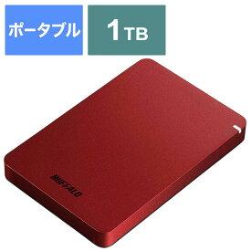 BUFFALO 外付けHDD レッド [ポータブル型 /1TB] HD-PGF1.0U3-RDA