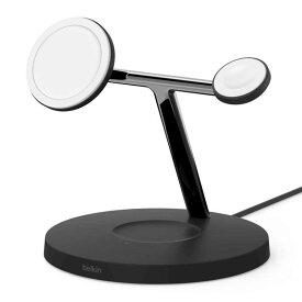 BELKIN MagSafe急速充電対応 iPhoneapple watch AirPods 同時充電可能 3in1 ワイヤレス充電器 WIZ009DQBK