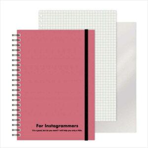 エムプラン [ノート]レフ板のついたリングノートカラード(5mmグリッド罫方眼・A5・50枚・レフ版2枚)ピンク 22041706