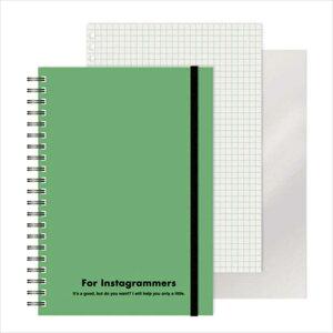 エムプラン [ノート]レフ板のついたリングノートカラード(5mmグリッド罫方眼・A5・50枚・レフ版2枚)グリーン 22041710