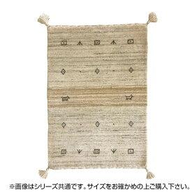 ラグ カーペット おしゃれ ラグマット 絨毯 厚手 極厚 キリム柄 ネイティブ ギャッベ ギャベ 玄関マット 室内 北欧 ウール 夏 80×140 1畳 ベージュ