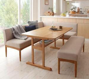 ダイニングテーブルセット 6人用 コーナーソファー L字 l型 ベンチ 椅子 おしゃれ 安い 北欧 食卓 4点 ( 机+ソファ1+右肘ソファ1+長椅子1 ) 幅120 デザイナーズ クール スタイリッシュ ミッドセン