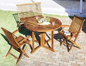 ガーデンテーブル + ガーデンチェア 椅子 セット 屋外 カフェ テラス ガーデン 庭 ベランダ バルコニー アジアン( 4点(テーブル+チェア2脚+背付ベンチ1脚)チェア 肘掛け幅110 )