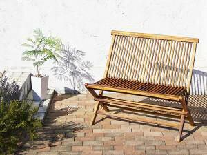 ガーデンベンチ ベンチ チェア ベンチ チェアー 長椅子 ガーデンチェア おしゃれ 椅子 チェア 屋外 カフェ テラス ガーデン 庭 ベランダ バルコニー アジアン ( 背付ベンチ 2P ) チーク 木製 座