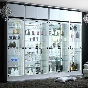コレクションケース キャビネット ガラス ショーケース アンティーク 薄型 フィギュア ディスプレイ 棚 ディスプレイケース コレクションラック ( コレクション収納 本体 幅83.1 )