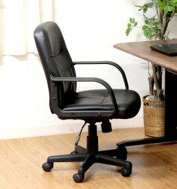 オフィスチェア 事務椅子 キャスター付き椅子 キャスター 椅子 チェア レザーチェア ブラック 黒 デスクチェア 肘付き椅子 肘掛け椅子 肘置き 肘付 肘掛