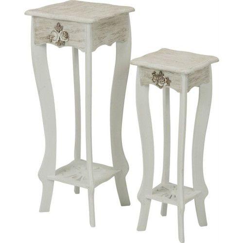 姫系 おしゃれ フラワースタンド かわいい サイドテーブル 2点セット 【ポイント2倍】 ホワイト 白