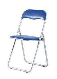 パイプチェア 折りたたみ 会議椅子 ブルー 青 【チェア イス いす スツール 積み重ね スタッキングチェア オフィスチェア キャスター付き椅子 ハイバック パイプチェア デザイナーズチェア 送料無料】