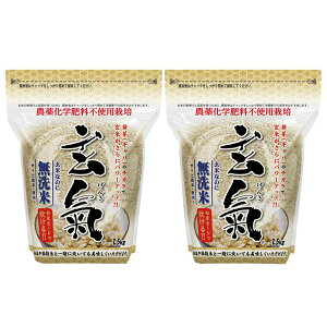 川島米穀店 無洗米の発芽玄米・玄氣 1.5kg 無農薬 真空パック 無農薬 玄米 無洗米 2パック