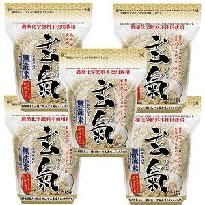 川島米穀店 無洗米の発芽玄米・玄氣 1.5kg 無農薬 真空パック 無農薬 玄米 無洗米 5パック