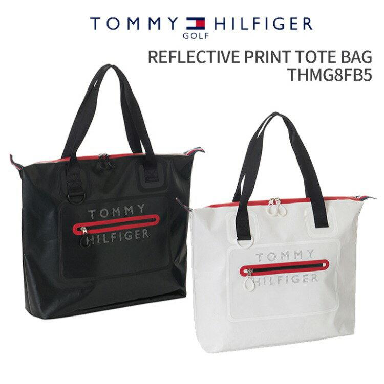 トミーヒルフィガーゴルフ REFLECTIVE PRINT TOTE BAG THMG8FB52018年秋冬モデル 新作TOMMY HILFIGER GOLFリフレクティブ プリント トートバッグファスナートート A4トート カジュアルトートPVCコーティング反射材 止水ファスナーゴルフ用品 ギフト