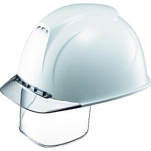 タニザワ エアライト搭載ヘルメット(透明バイザータイプ・溝付・通気孔付・ワイドシールド付) 透明バイザー:グレー/帽体色:白 (1830VJ-SE-V2-W1-J)