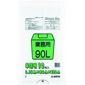 ワタナベ 業務用ポリ袋90L 白半透明 (10枚入) (M-90D)