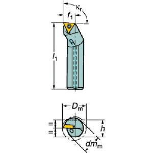 サンドビック コロターン107 ポジチップ用超硬ボーリングバイト (E12Q-STFCR 09-R)