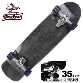 【お買い得】WOODY PRESS ウッディプレス サーフスケート スラスター3 コンプリート 35インチ BLACK ロングスケボー スケートボード ロンスケ カービング【クエストン】