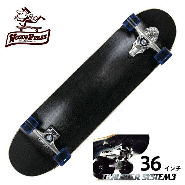 WOODY PRESS ウッディプレス サーフスケート スラスター3 コンプリート 36インチ BLACK WPC-003 ロングスケボー スケートボード カーバー ロンスケ グラビティー 【クエストン】