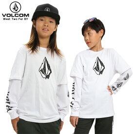 【在庫処分】VOLCOM ボルコム キッズ ロンT 長袖Tシャツ ホワイト 白 West Two Fer BY WHT【クエストン】