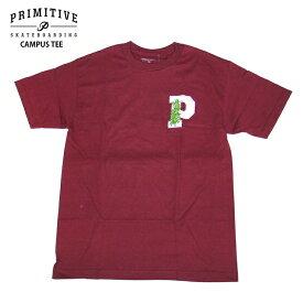PRIMITIVE プリミティブ Tシャツ CAMPUS TEE BURGUNDY スケボー ウェアー 2018FW PR18FT16