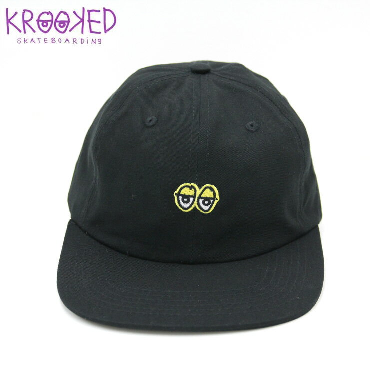 KROOKED クルーキッド キャップ EYES EMB Clipback hat BLACK/YELLOW SKATE CAP スケーター 帽子