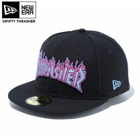 【在庫処分】NEW ERA newera cap ニューエラ キャップ 59FIFTY THRASHER スラッシャー ファイアロゴ ブラックXウルトラブルー SKATE CAP