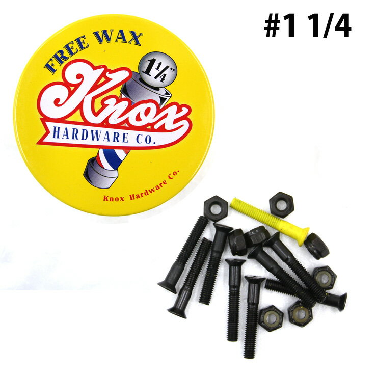 スケボー ビス KNOX ノックス SCREW 8PCS/PACK (1 1/4) プラス ORANGE スクリュー スケートボード WAX付き