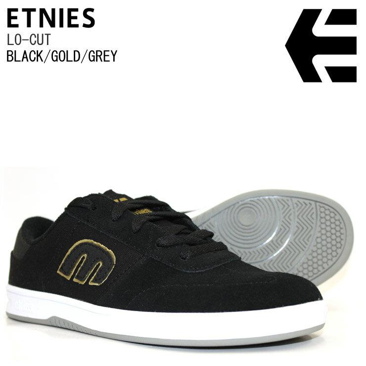 ETNIES エトニーズ スニーカー LO-CUT BLACK/GOLD/GREY スケートシューズ スケシュー SKATEBOARD