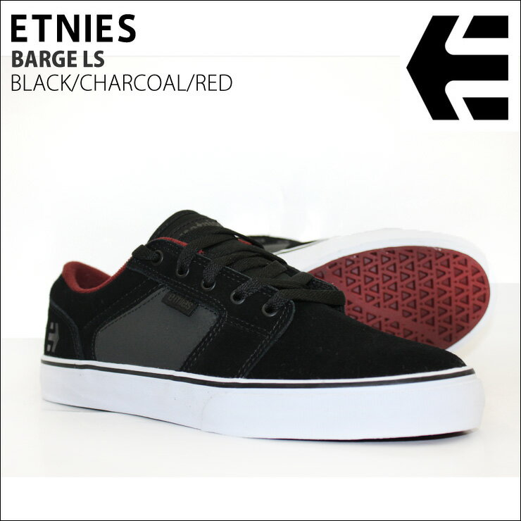 ETNIES エトニーズ メンズスニーカー BARGE LS BLACK/CHARCOAL/RED スケボーシューズ SKATEBOARD 【クエストン】