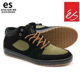 【在庫処分】es エス スケート スニーカー ACCEL SLIM MD BLACK/BROWN アクセル スリム ミッド スケートシューズ スケシュー 18FWモデル