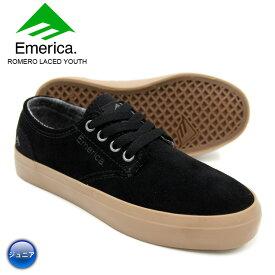 【在庫処分】EMERICA エメリカ スケート シューズ スニーカー ROMERO LACED YOUTH BLK/GUM 18FWモデル
