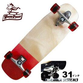 WOODY PRESS ウッディプレス サーフスケート スラスター3 コンプリート 31インチ RED WPC-012 ロングスケボー スケートボード カーバー ロンスケ