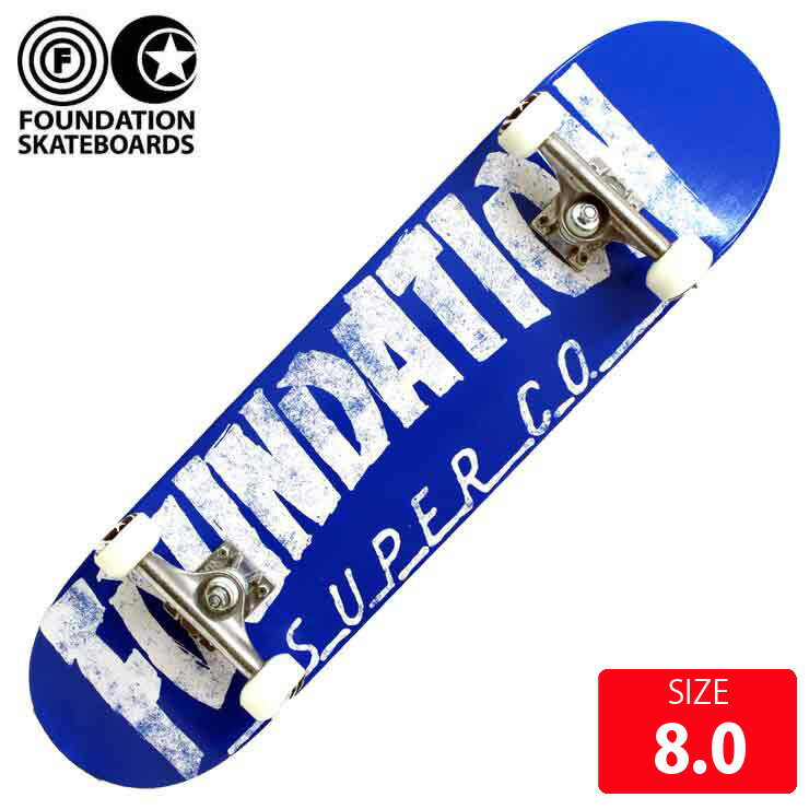 FOUNDATION コンプリート スケボー スケートボード ファンデーション THRASHER BLUE 8.0 FAC-021 完成品