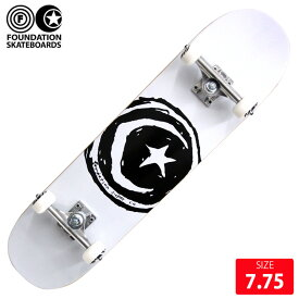 【お買い得】FOUNDATION コンプリート ファンデーション STAR&MOON WHITE DECK 7.75インチ 完成品 スケボー スケートボード 【クエストン】