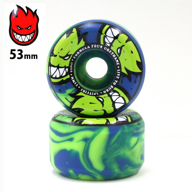 spitfire ウィール F4 99D AFTER BURNERS SWIRL CONICAL SHAPE GREEN/BLUE SFW-763 53mm スピットファイア フォーミュラー4 WHEEL クエストン