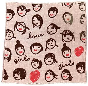 日本製 タオルハンカチ 女の子たち(5枚セット) 今治 約25×25cm タオル ハンカチ まとめ買い ギフト 北欧 大人 かわいい レディース 子供