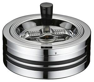 クロームラインII 回転灰皿 大 おしゃれ 卓上 蓋付き フタ付き シンプル かっこいい 業務用 会社用 個人使用