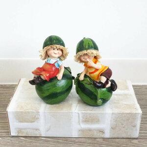 送料無料 ディスプレイ かわいい 置物 人形 スイカ 2SET オブジェ インテリア インテリア雑貨 アンティーク オーナメント 飾り ガーデン ギフト 贈り物 プレゼント おしゃれ