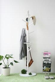 コートハンガー 玄関 おしゃれ スリム ポールスタンド ポールハンガー 洋服掛け KOEDA ホワイト 省スペース 衣類収納 帽子掛け シンプル 北欧