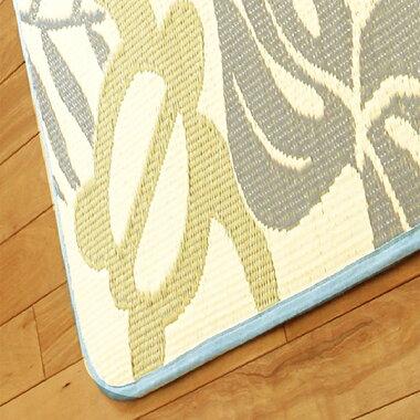 水洗いできる日本製PPラグ約176×176cm洗えるい草風上敷きカーペットラグマットフローネブルーレジャーシートキャンプガナッシュブラウン運動会アウトドア花見花火和風高級感モダン和室リビング日本アトピー協会推薦品