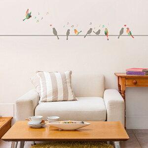 A4 フチなし シール ウォールステッカー「電線に集まる鳥たち」おしゃれ インテリア 鳥 壁傷 汚れ隠し インテリア キッチン リビング 子供部屋 トイレ 壁紙 壁シール かわいい 北欧