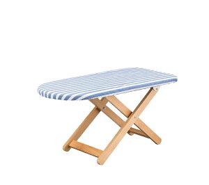 アイロン台 スタンド式 木製 折りたたみ 折り畳み コンパクト 省スペース 舟形 スタンド式アイロン台 アイロンボード 高さ調節 高さ調整 ストライプ柄 シンプル ブルー