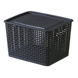 収納ボックス M かご 籠 押入れ収納ボックス ふた付き プラスチック 収納箱 小物入れ 小物収納 収納ケース 整理箱 コンパクト おもちゃ箱 ランドリーボックス ランドリーバスケット レトロ