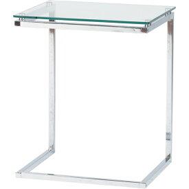 ガラスサイドテーブル 幅45cm スチール スリム コンパクト ナイトテーブル ベッドサイドテーブル ソファーサイドテーブル レトロ モダン 北欧 ブルックリン 西海岸 男前 インテリア おしゃれ アンティーク クリア