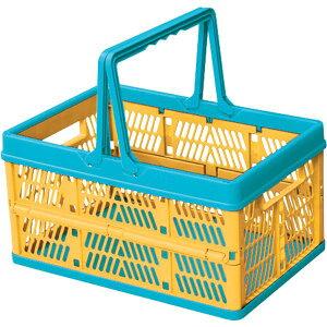 収納ボックス プラスチック フォールディングボックス 折りたたみ 折り畳み 取っ手付き 野外 スタッキング ランドリーボックス 洗濯かご おもちゃ箱 大容量 シンプル おしゃれ 北欧 オレン