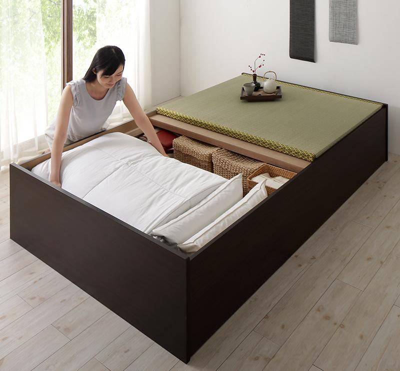 日本製・布団が収納できる大容量収納畳ベッド 悠華 ユハナ クッション畳 ダブル 500027353