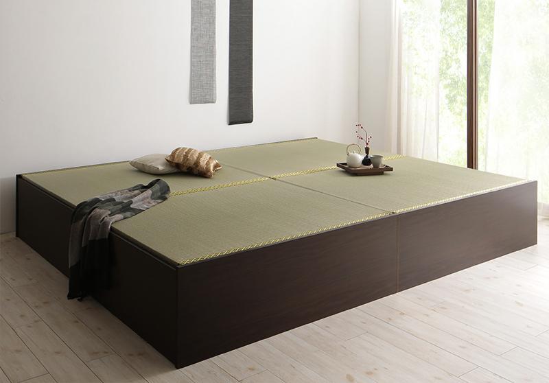 組立設置 日本製・布団が収納できる大容量収納畳ベッド 悠華 ユハナ い草畳 ダブル 500027359