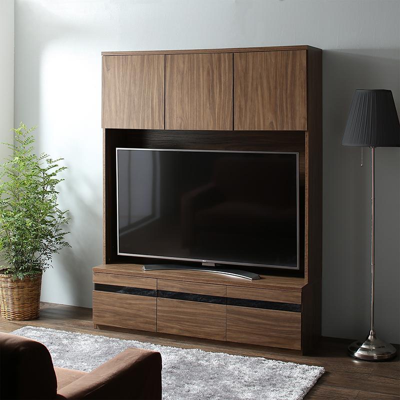 【送料無料】 テレビボードのみ 幅140cm 奥行き45 高さ180cm ハイタイプテレビボードシリーズ Glass line グラスライン テレビ台 木製 55インチ対応 ウォルナットブラウン 500028768