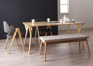 送料無料ダイニングセット4点セットテーブル(W170)×1+チェア×2+ベンチ×1北欧デザインワイドダイニングオレロ4人用4人掛けデザイナーズチェアダイニングテーブルダイニングテーブルセット食卓テーブル食卓セット木製シンプルおしゃれ北欧