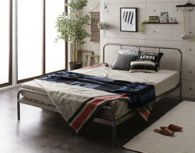 (送料無料) パイプベッド フットロー ベッドフレーム マットレスセット シングル スチールすのこベッド デュアルト ポケットコイルマットレスハード付き ベッド ベット シングルベッド すのこべット パイプベット 金属製 西海岸 ブルックリン 省スペース