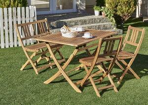 アカシア天然木ガーデンファニチャー Efica エフィカ 5点セット(テーブル+チェア4脚) チェアタイプ W120 *500025841