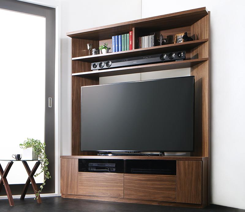 (送料無料) ハイタイプ テレビ台 55V型 まで対応 幅134×奥行き40×高さ160cm 薄型 大型テレビ対応ハイタイプコーナーテレビボード city angle シティアングル 木製 壁面 コーナー ウォルナットブラウン